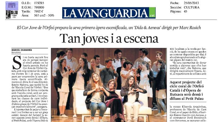 'Dido and Aeneas' Opera debut of  Youth Choir of the Orfeó