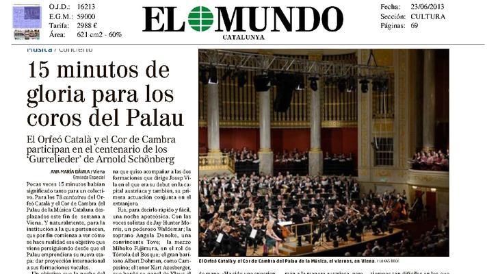 15 minutos de gloria para los coros del Palau