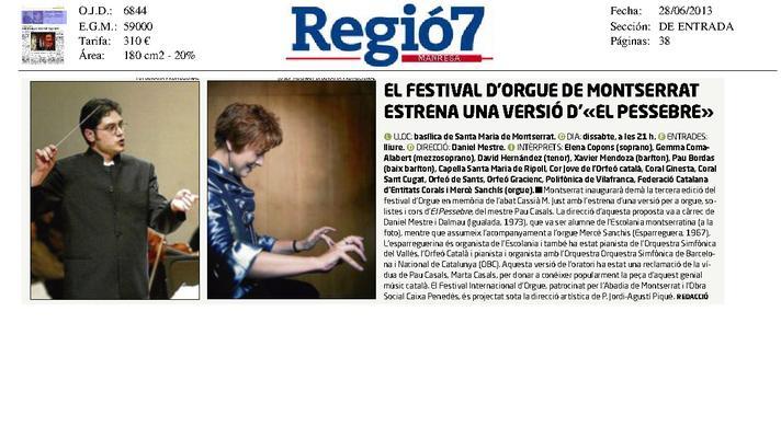 """El Festival de Órgano de Montserrat estrena una versión de """"El Pesebre"""""""