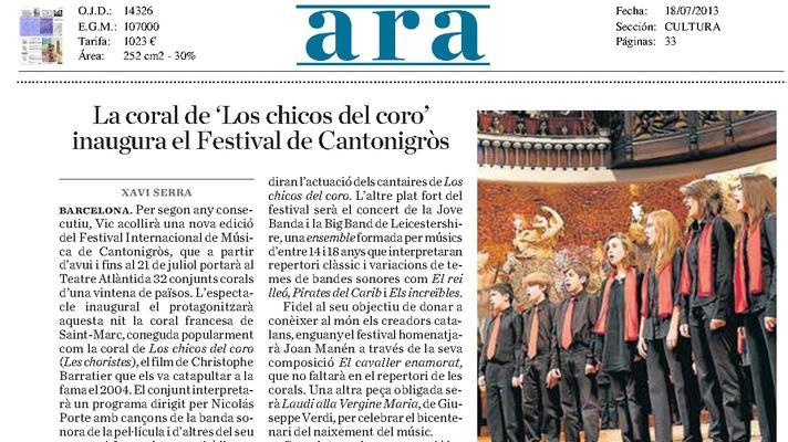 El cor infantil de l'Orfeó Català també participarà en el Festival Cantonigròs