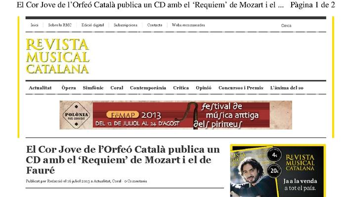 The Cor Jove of the Orfeó Català publishes Catalan CD with 'Requiem' by Mozart and the Fauré