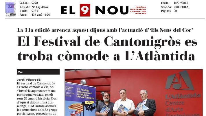 El Festival de Cantonigròs se encuentra cómodo en la Atlàntida