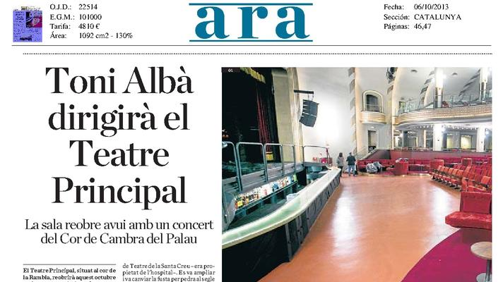 Toni Albà lead the Teatre Principal. The concert hall reopens today whit a concert by Chamber Choir of the Palau