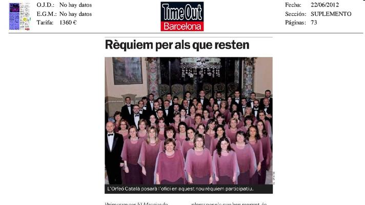 The Orfeó Català will lead the service in this new participative Requiem