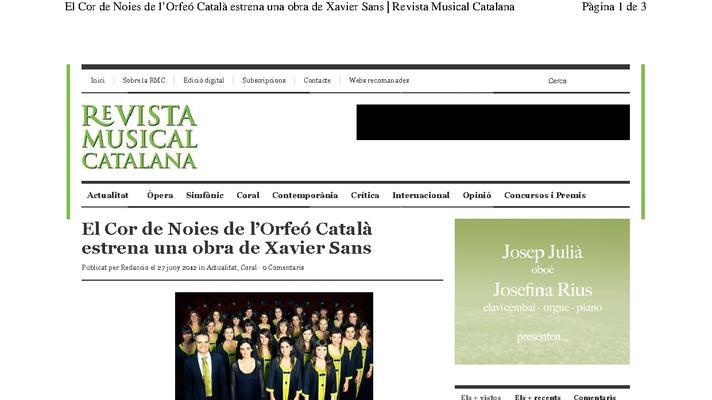 El Cor de Noies del Orfeó Català estrena una obra de Xavier Sans