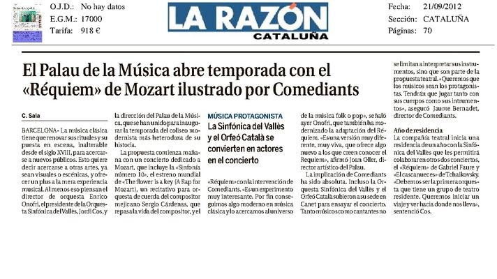 "The Palau de la Musica opens season with ""Requiem"" by Mozart illustrated by Comediants"