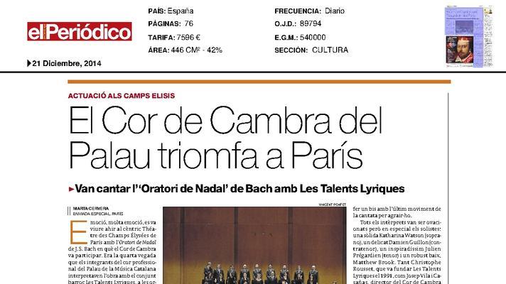 The Chamber Choir of the Palau triumphs in Paris