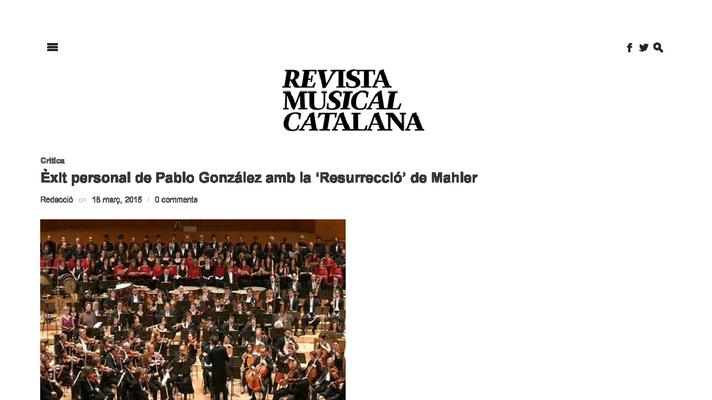"Pablo González personal success with ""The Resurrection"" by Mahler"