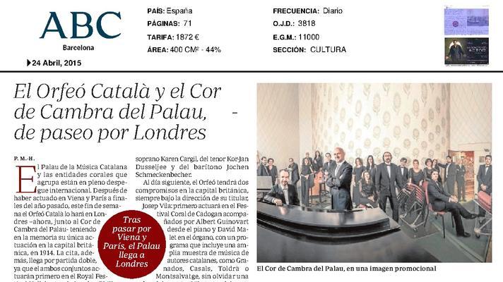 El Orfeó Català y el Cor de Cambra del Palau, de paseo por Londres