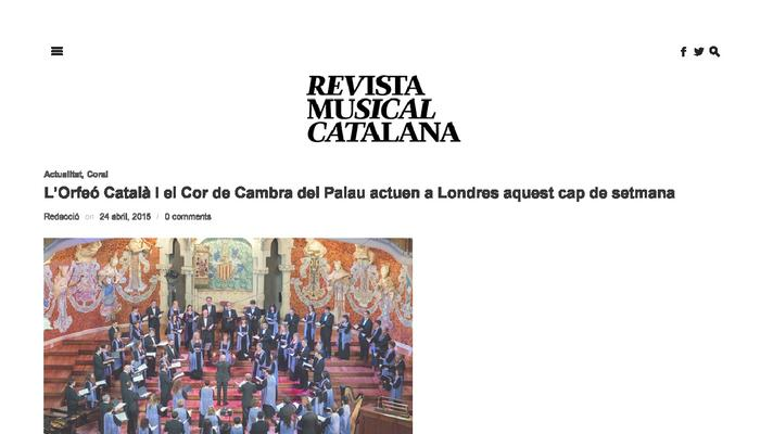 The Orfeó Catalá and Cor de Cambra perform in London this weekend