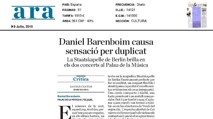 Daniel Barenboim causa sensación por duplicado