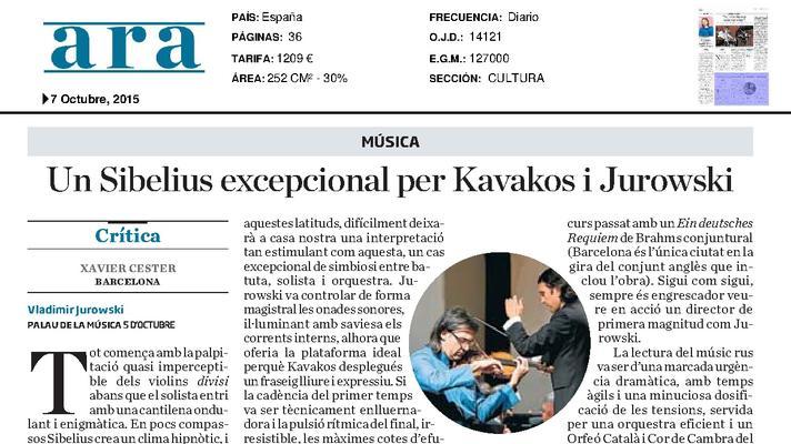 Un Sibelius excepcional para Kavakos y Jurowski