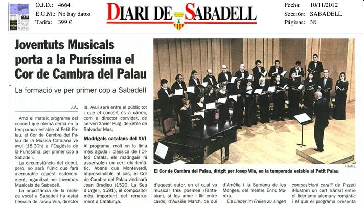 Joventuts Musicals trae a la Puríssima el Cor de Cambra del Palau