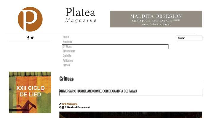 Aniversario handeliano con el Cor de Cambra del Palau