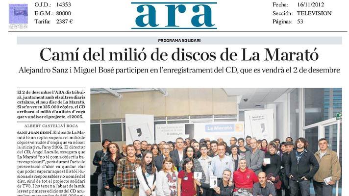 L'Orfeó Català participa en el disco de la Maratón de TV3