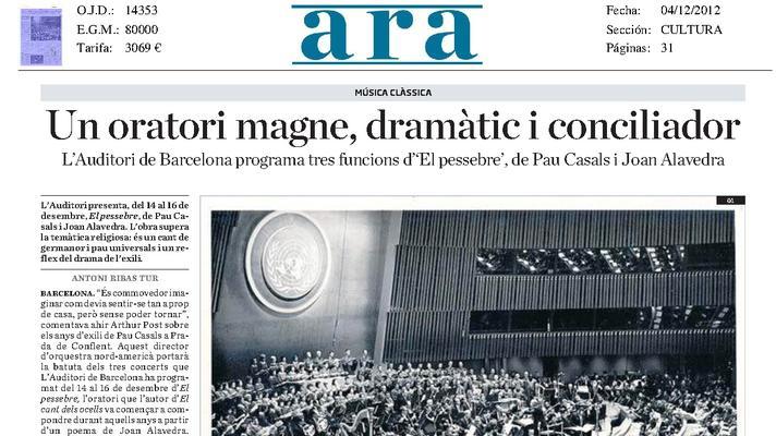 """L'Auditori programa tres funcions d'""""El Pessebre"""" de Pau Casals"""