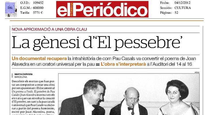 """L'Auditori acull un documental sobre la creació d' """"El Pessebre"""" de Pau Casals"""