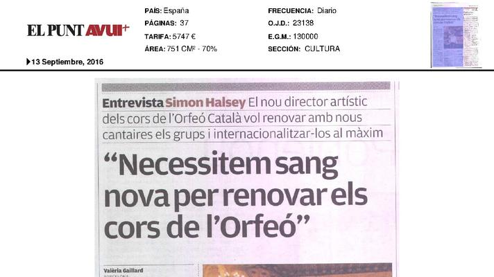 """We need new blood to renew choirs of the Orfeó"""