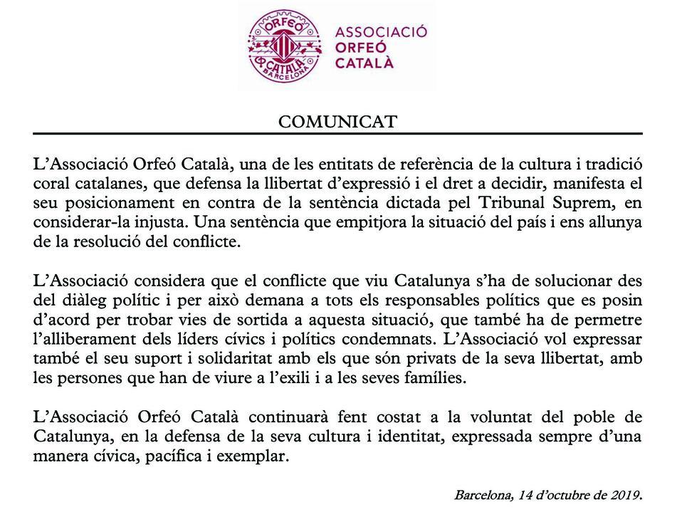 Comunicat de l'Associació Orfeó Català