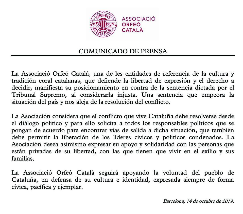 Comunicado de la Associació Orfeó Català