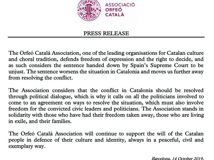 Press Release of the Associació Orfeó Català