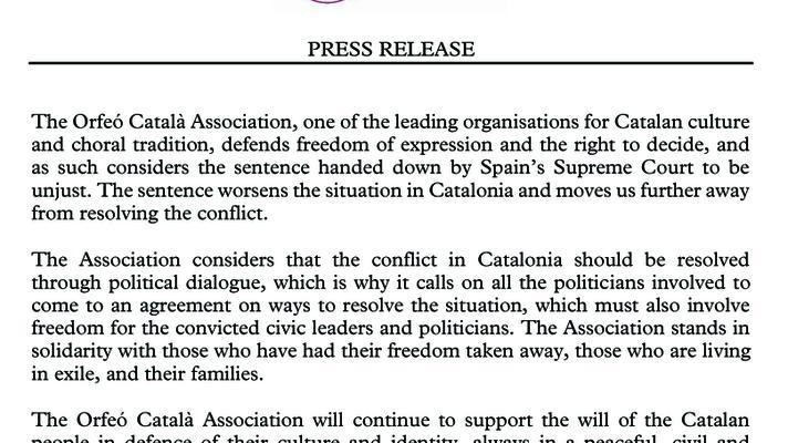 Press Release of the Associació Orfeó Català