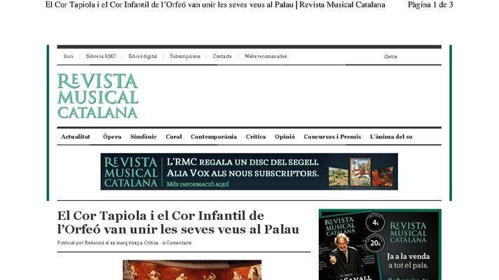 El Cor Tapiola i el Cor Infantil de l'Orfeó van unir les seves veus al Palau